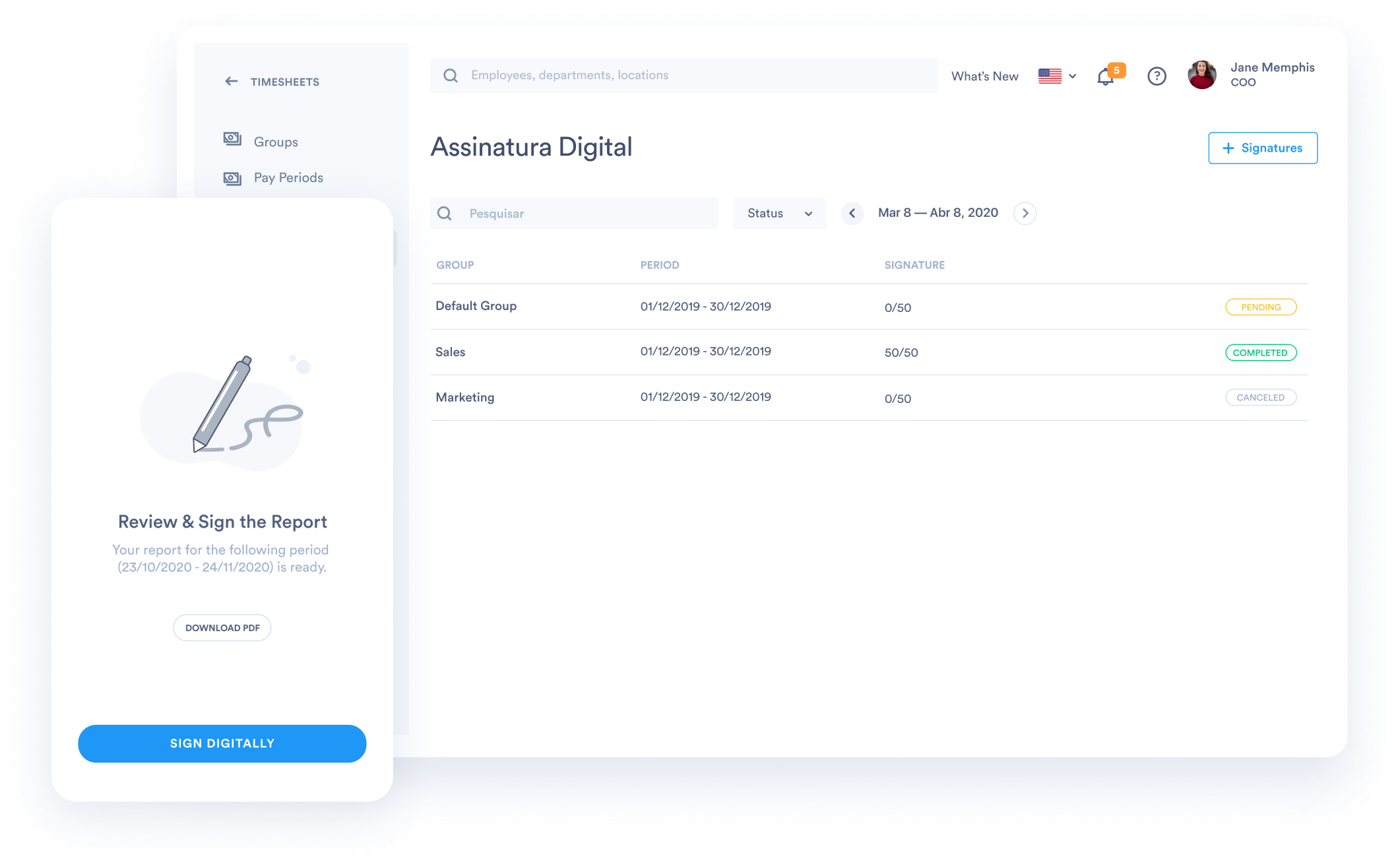 Digital Signatures for Timesheets